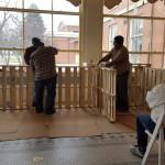 Robert Hart and Erik Hernandez build compost bin