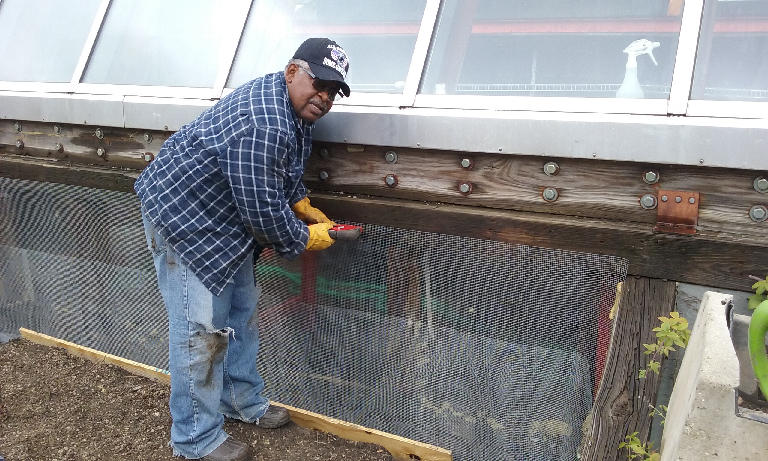 Robert Hart working on the greenhouse at CCGT