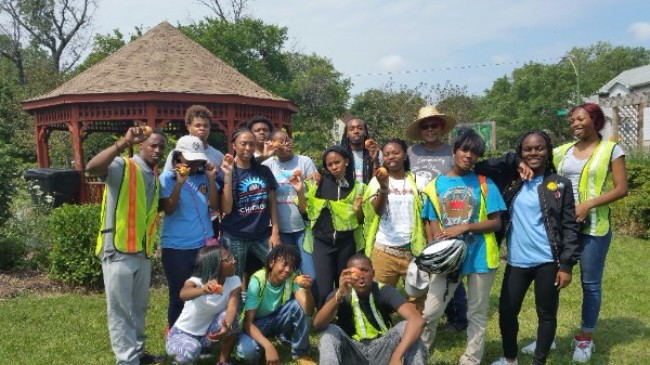Teens lent a helping hand at Sherwood Peace Garden, 257 W 61st St.